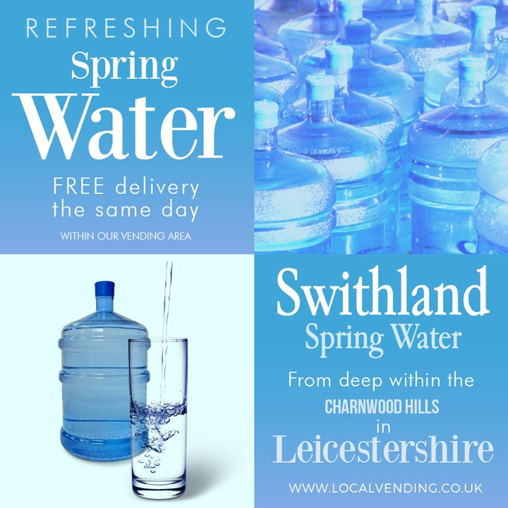 Bottled spring water delivered free vending