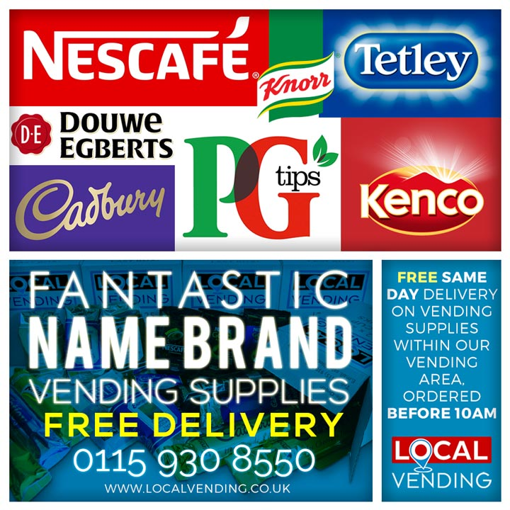 Name brands vending supplies free delivery