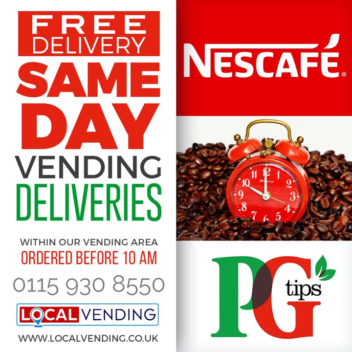 Free same day vending deliveries